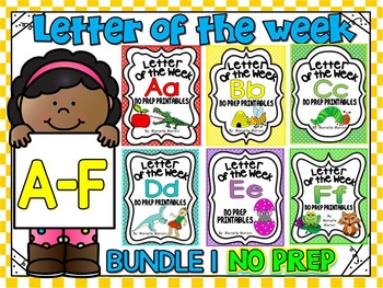 ALPHABET WORKSHEETS-LETTER OF THE WEEK WORKSHEETS-BUNDLE 1 (A-F)