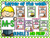 ALPHABET WORKSHEETS-LETTER OF THE WEEK WORKSHEETS-BUNDLE 3 (M-S)