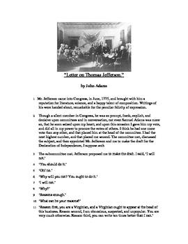 Letter on Thomas Jefferson - Informational Text Test Prep
