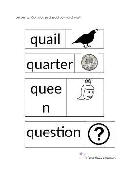 Letter q words for word wall.