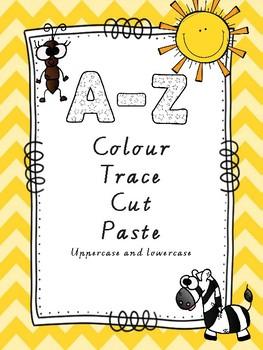 "Letter recognition ""Colour Trace Cut and Paste"" (A-Z) Aussie spelling"