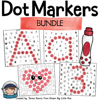 Math and Literacy Printables with Dot Markers Bundle for Prek and ...