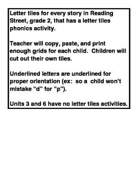 Letter tiles for phonics activities in Reading Street Gr. 2
