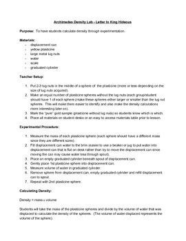 Density Lab - Letter to Archimedes