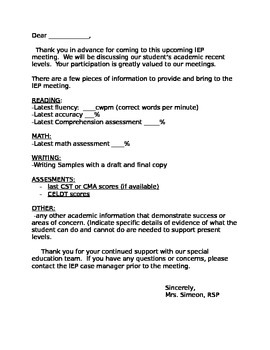 Letter to General Education Teacher Before IEP meeting