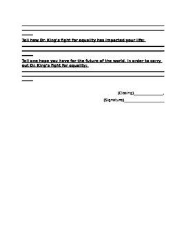 Letter to MLK graphic organizer