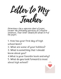 Letter to My Teacher First Day Activity