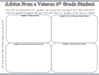 Letter to Next Year's 6th Graders Graphic Organizer