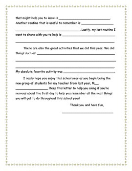 End of Year Letter to Next Years Students
