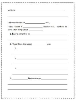 Letter to Next Year's Students - Elementary