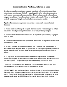 Letter to Parent: How to Help Students (English & Spanish)