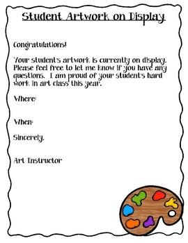 Letter to Parents: Artwork on Display