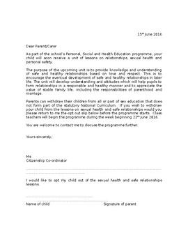 Letter to parents about sex education