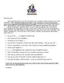 Letter to Parents: Critical Thinking Question Stems