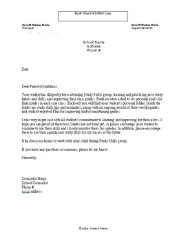 Letter to Parents: Follow up after completion of counseling group