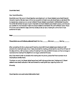 Elegant IEP Invitation Letter To Parents