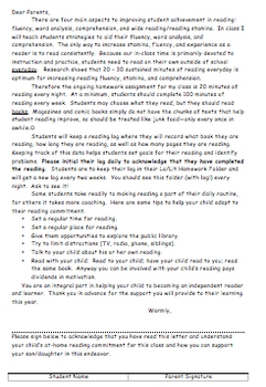 Letter to Parents - Independent Reading Commitment - Also in Spanish!