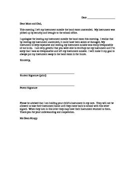 Letter to Parents - Instrument left outside/on campus unattended