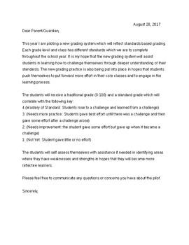 Letter to Parents: Standard Based Grading