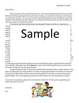 Letter to Parents about Good Fit Books