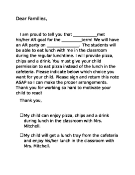 Letter to Parents for AR party