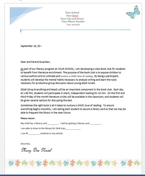 Letter to Parents for Book Club Grades 6-12 (Library Field Trips)