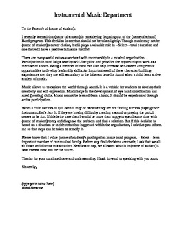 Letter to Parents for Students Wishing to Drop Out of Band. (Version 1)