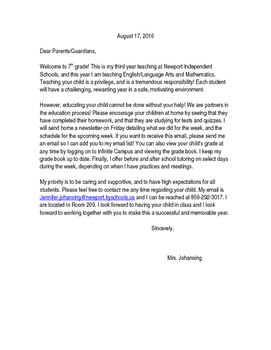 Letter to Parents to Begin the School Year