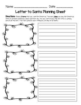 Letter to Santa Planning Sheet