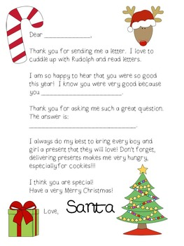 Christmas Letter To Santa Template By All Things Preschool Tpt