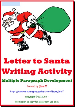 Letter to Santa Writing Activity