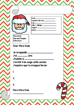 Letter to Santa in French