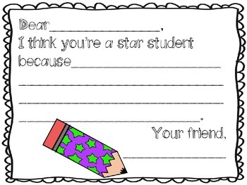 Letter to Star Student {Freebie}