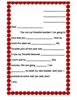 Letter to Teacher Guided Writing