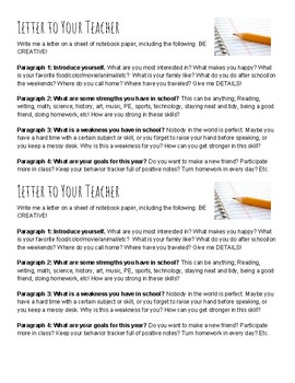 Letter to Your Teacher Activity