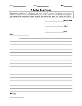 Letter to a Friend Worksheet