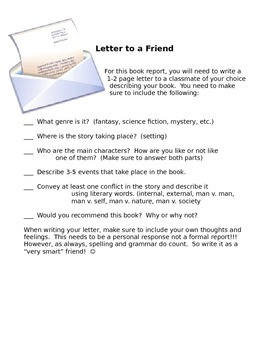 write a letter book report