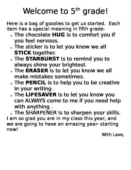 Letter to go on first day of school goodie bags
