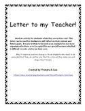 Behavior Management: Letter to my Teacher!