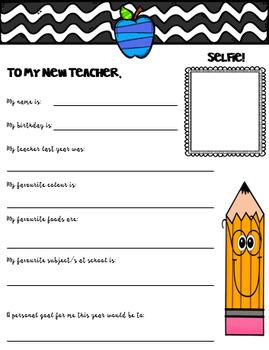 Letter to new teacher. Back to school