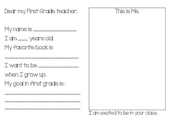 Letter to next year's teacher (Kinder to First Grade)