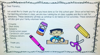 Letter to parents to restock supplies