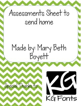 Letter to send home about Assessments