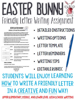 Letter to the Easter Bunny - A Friendly Letter Holiday Wri