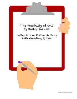 """Letter to the Editor Written Response Activity for """"The Possibility of Evil"""""""