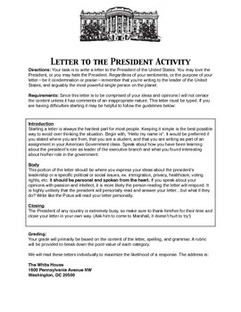 Letter to the President Activity