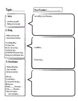 Letter to the President Graphic Organizer and Writing Guide