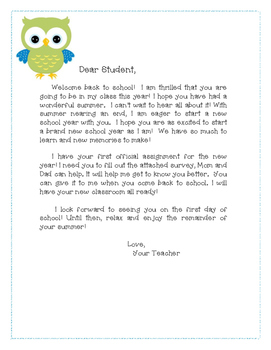 Letter to the Student - Back to School