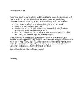 Letter to your teacher aide - Editable