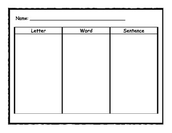 Letter, word and sentence